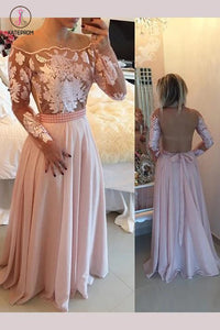 Elegant A-line Pink Floor-length Illusion Back Chiffon Prom Dress with Appliques Beading KPP0290