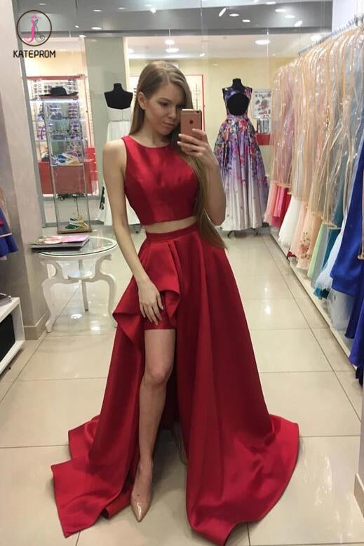 A-line Red Sleeveless Two Piece Long Satin Prom Dress Evening Dress For Teens KPP0291