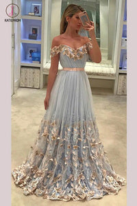 A-line Off-the-shoulder Appliques Sweep Train Tulle Prom Dress with Sash Flowers KPP0292