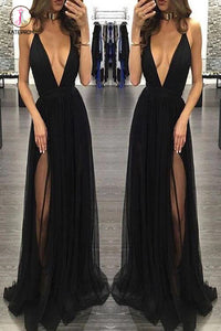 Sexy Spaghetti Straps Deep V-neck Sleeveless Black Prom Dress,Tulle Prom Party Dress KPP0294