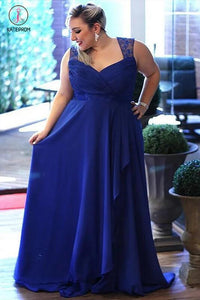 Cheap Royal Blue Plus Size Sleeveless Floor-length Open Back Chiffon Prom Dresses KPP0299