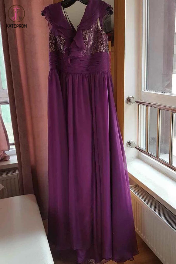 A-line Purple Cap Sleeves Floor-length Split Ruffles Chiffon Prom Dress,Party Dresses KPP0302
