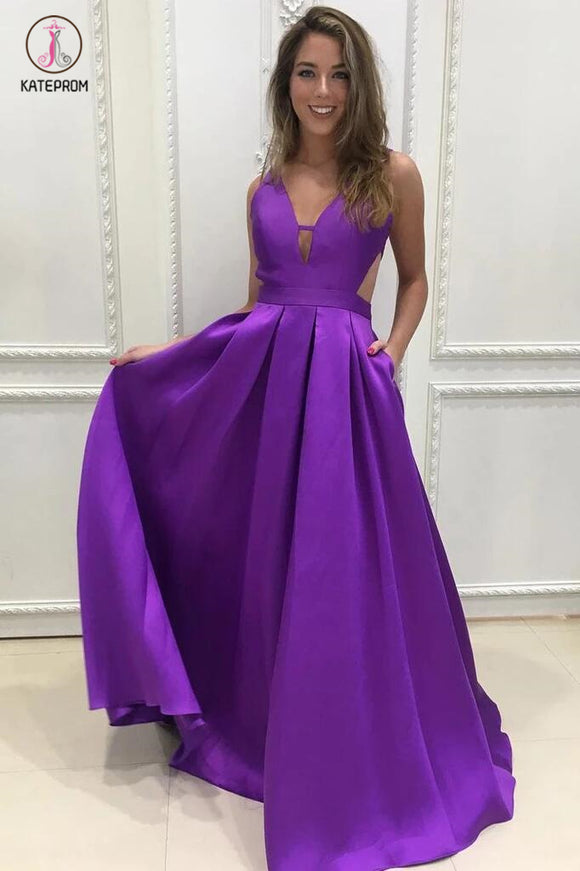 Simple Purple A-line V-neck Backless Ruched Sleeveless Satin Long Prom Dresses KPP0313