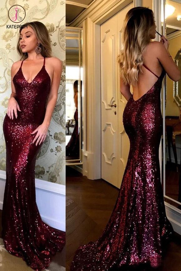 Sparkling Burgundy Sequins Mermaid V-neck Sweep Train Party Dress,Prom Gown KPP0314