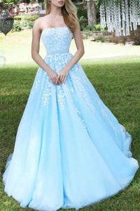 Princess Sky Blue Strapless A-line Tulle Floor-length Prom Dress with White Appliques KPP0325