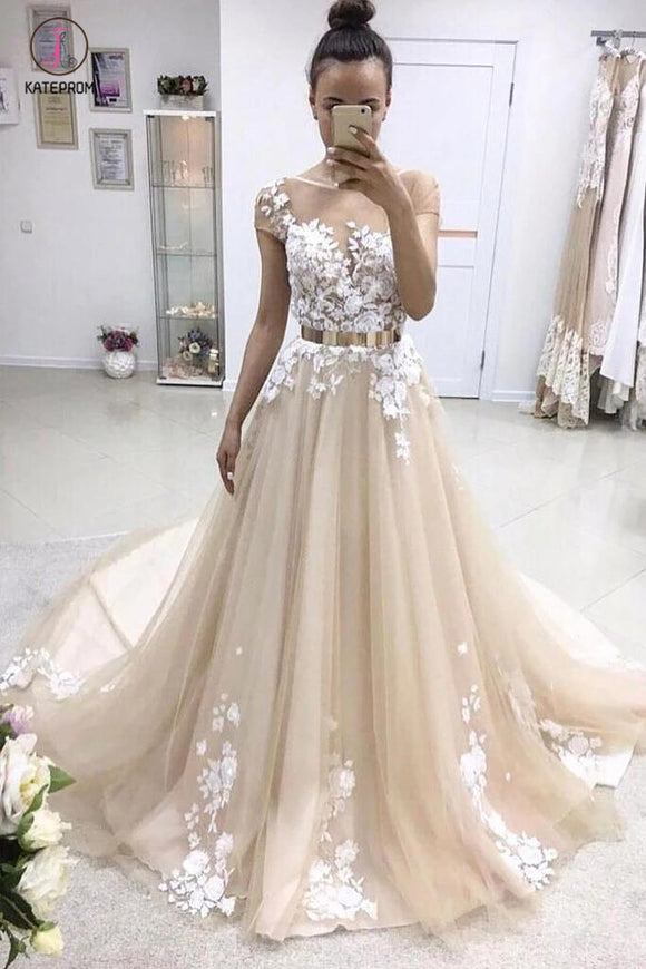 A-line Bateau Lace Appliqued Gold Sash Short Sleeves Wedding Dresses,Prom Dresses KPP0327
