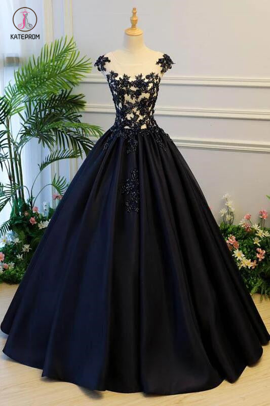 Generous Princess Cap Sleeves Scoop Black Applique Satin Long Prom/Evening Dress KPP0331