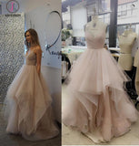 Cheap A-Line Spaghetti Straps Sleeveless Tulle Long Wedding Dress,Prom Dress KPW0139