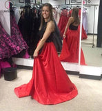 Red and Black A-line Jewel Split Sleeveless Lace Long Prom Dress,Party Dress KPP0332