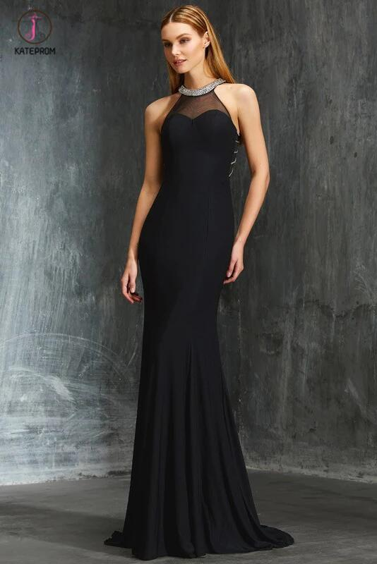 Elegant Black Sheath Jewel Beading Sleeveless Floor-length Evening Dress,Prom Gown KPP0340