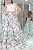Sexy Princess Two Piece Cap Sleeves White Lace Floral Long Prom Dresses KPP0344