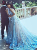 Blue Straps Hand Made Flowers Tulle Prom Dress,Wedding Dress with Beads KPP0347