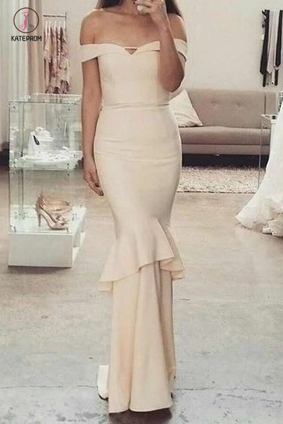 Glamorous Beige Mermaid Off-the-Shoulder Long Prom Bridesmaid Dresses with Ruffles KPP0350