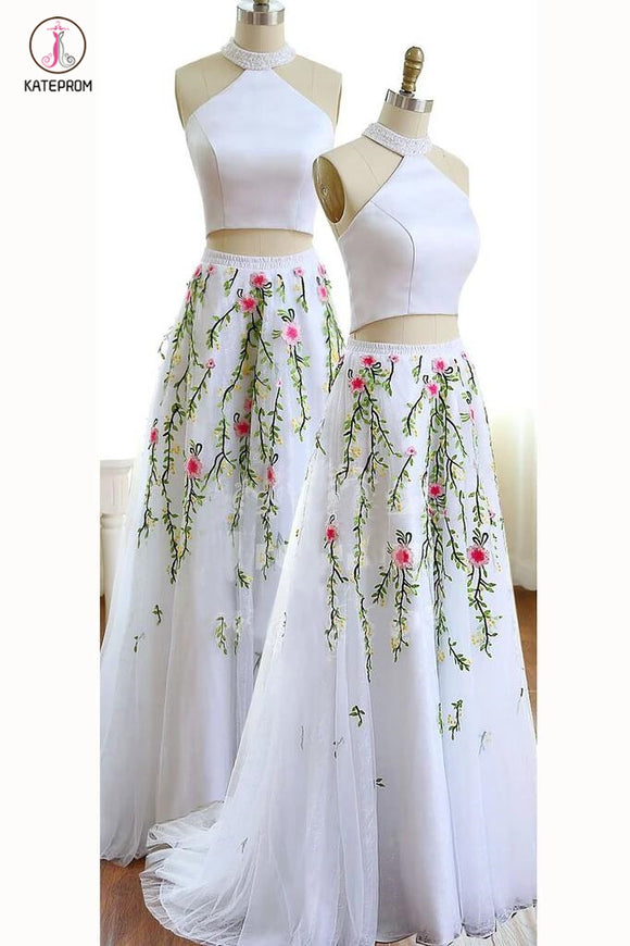 Unique White Jewel Sleeveless A-line Tulle Two Pieces Prom Dress with Flowers for Teens KPP0352