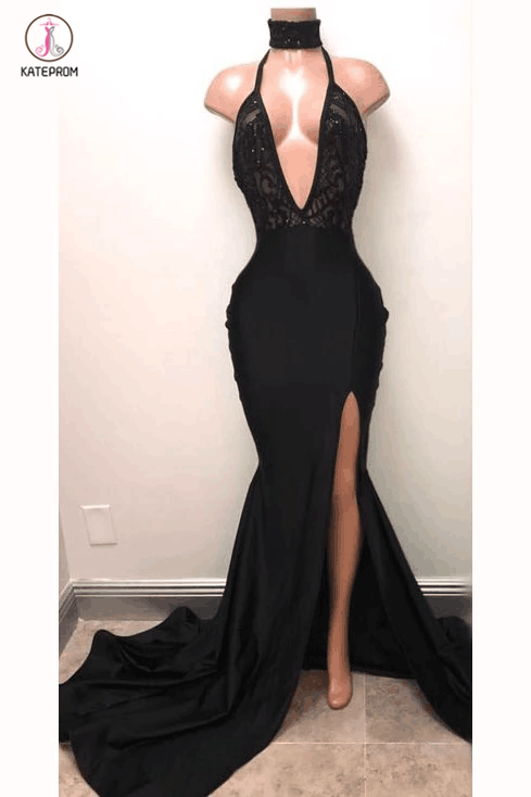 Sexy Black Straps Deep V-neck Mermaid Split Sleeveless Evening Dress with Lace KPP0353