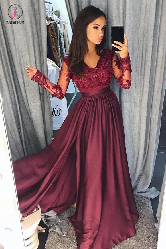 Maroon Long Sleeve V-neck Prom Dress with Lace Banquet Gown with Slit KPP0360