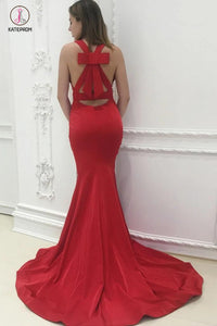Unique Back Design Red V-neck Sleeveless Mermaid Sweep Train Prom Dresses KPP0363