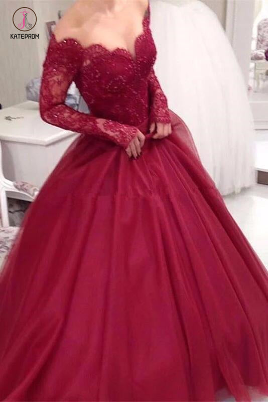 Burgundy Off the Shoulder Long Sleeve Applique Tulle Evening Dress,Long Prom Dress KPP0364