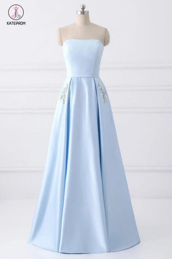 Light Blue Strapless Satin Floor-length Prom Dress With Beaded Pockets Lace Up Back KPP0365