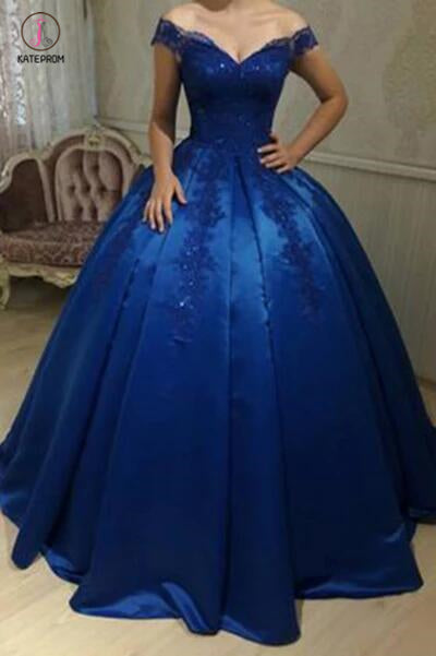 Royal Blue Satin Off-the-shoulder Applique Ball Gowns Quinceanera Dresses KPP0366