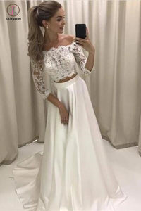 Two Piece 3/4 Sleeve Off the Shoulder Lace Satin Beach Wedding Dress,Prom Dress KPP0368