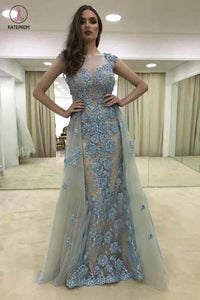 Sexy Appliques Mermaid Cap Sleeve Sheer Neck Long Tulle Evening Dresses,Prom Gown KPP0370