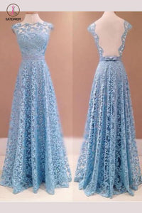 A-line Blue Sleeveless Lace Floor-length Prom Dresses,Sexy Evening Dresses KPP0372