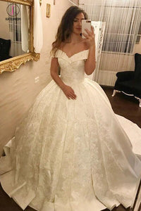Ivory Ball Gown Off-the-Shoulder Pleated Satin Lace Appliques Wedding Dress KPW0142