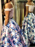 Two Piece Off the Shoulder Pink Floral Long Prom Gown,A-line Formal Dresses with Lace KPP0376