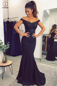 Navy Blue Off The Shoulder Mermaid Stretch Evening Dresses with Lace Beads KPP0383