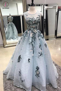 A-line Sleeveless Lace Long Prom Dress with Appliques,Sweep Train Formal Dresses KPP0385