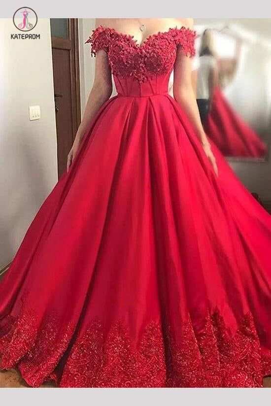 Red Off the Shoulder Long Satin Prom Dress with Lace Appliques,Grad Dresses KPP0387