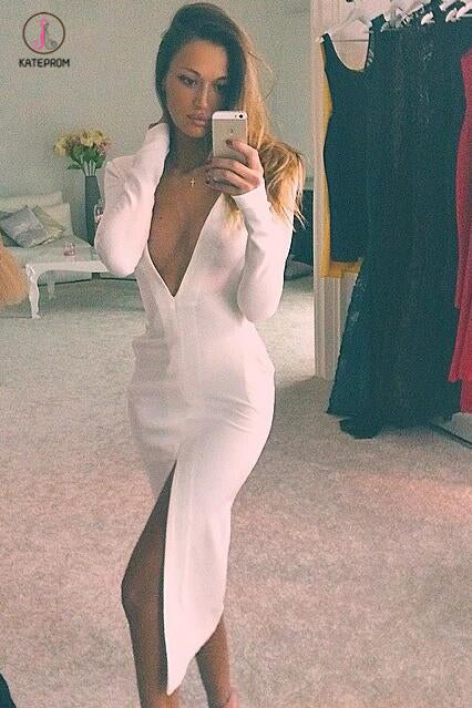 White Sexy Deep V-neck Long Sleeves Front Slit Tea-Length Party Dresses,Prom Gown KPP0389