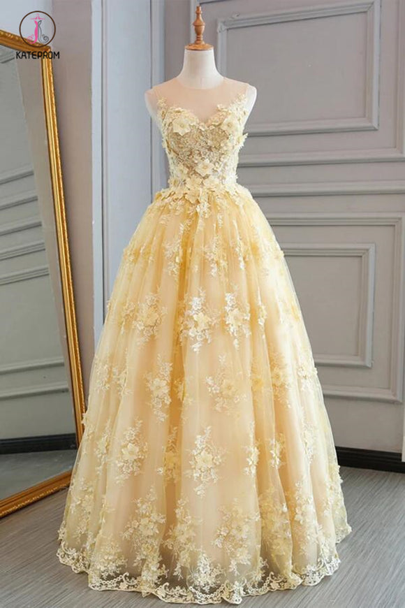 New Style Yellow Sheer Neck Tulle Lace Appliqued Floor-length Prom Dresses KPP0390
