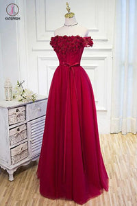 Burgundy Off the Shoulder Floor Length Prom Dress with Hand Made Flowers Belt KPP0397