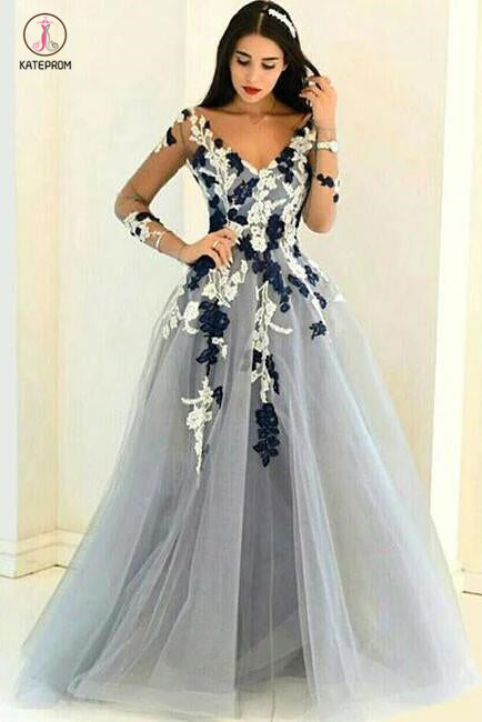 A-line V-neck Long Sleeves Tulle Prom Dress with Appliques,Cheap Prom Gown KPP0399