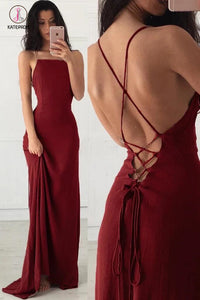 Spaghetti Straps Burgundy Sleeveless Formal Gown,Cheap Long Evening Dresses KPP0401