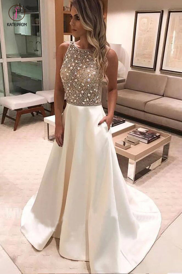 Charming Beaded Top Formal Cheap Prom Dresses,A-line Bateau Satin Prom Gown KPP0403