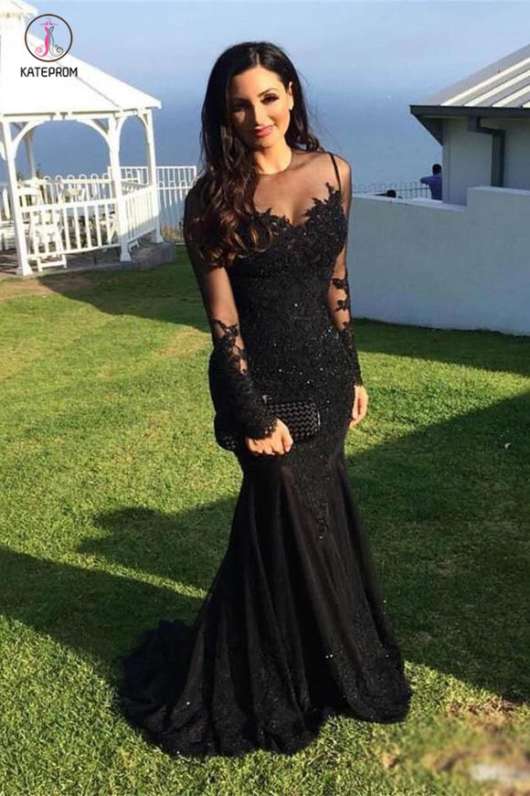 Black Mermaid Dresses Long Sleeves Lace Appliques Sheer Jewel Neck Prom Dress KPP0404