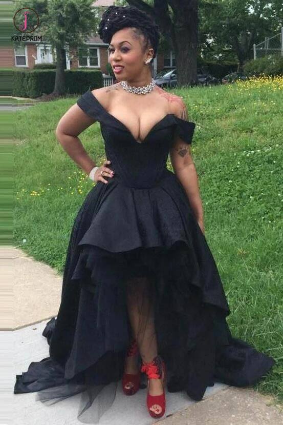 Sexy Black Off the Shoulder V Neck High Low Prom Dresses,Party Graduation Gowns KPP0406