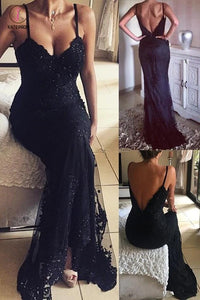 Vintage Mermaid Black Long Beaded Lace Appliques V-Neck Prom Dresses KPP0408