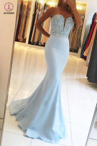 Sexy Light Blue Beading Strapless Long Prom Dresses,Sparkle Mermaid Party Gown KPP0411
