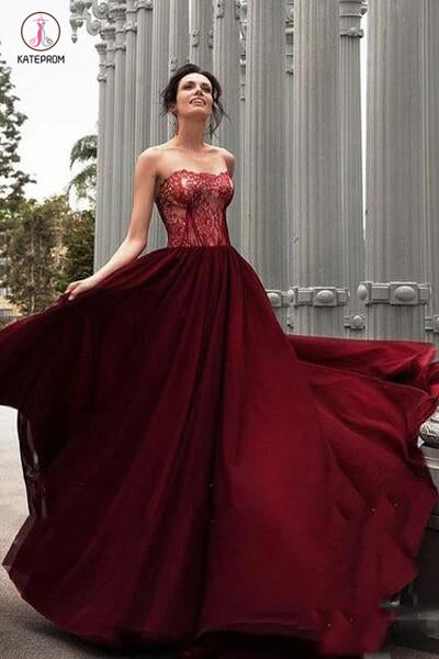A-Line Strapless Burgundy Long Prom Dress With Lace,Charming Evening Dress KPP0416
