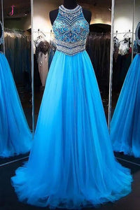 A-Line Blue Tulle Jewel Sleeveless Beading Tulle Dresses,Sweep Train Party Dress KPP0430