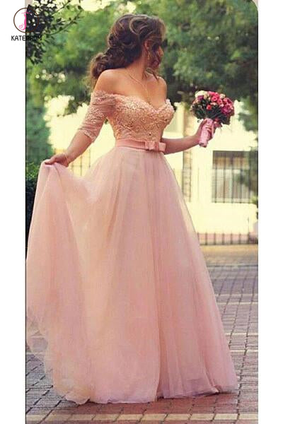 Shiny Pink Off the Shoulder Half Sleeves Sash Bow Beads Pearls Tulle Prom Dresses KPP0431