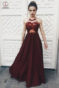 A-line Sexy Halter Sleeveless Dark Red Illusion Bodice Long Prom Dress with Lace KPP0439