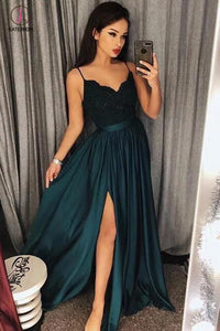 Jade Spaghetti Straps V neck Split Prom Dress with Lace,Maxi High Split Evening Gowns KPP0440