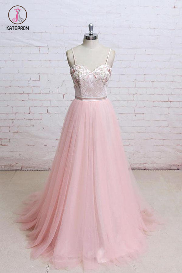Spaghetti Straps Pink Lace Flora Tulle Sweetheart Backless Wedding Dress,Prom Dress KPP0462