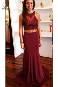 Burgundy Two Piece Open Back Prom Dress with Lace Sweep Train Evening Dress KPP0448