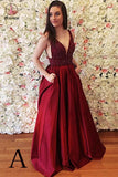 Burgundy Sleeveless V Back Prom Dress with Beads, Cheap Long Prom Dress KPP0450
